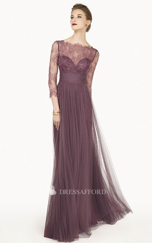 Floor-Length Pleated Prom Lace Column Tulle Dress