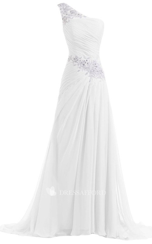 Long Pleated Sequined One-Shoulder Chiffon Floor-Length Gown