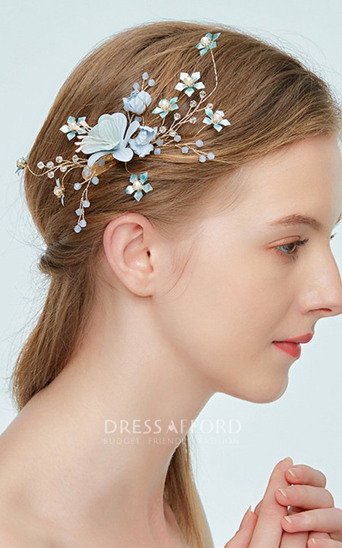 Korean Style Chic Beaded Bridal Headbands with Flowers