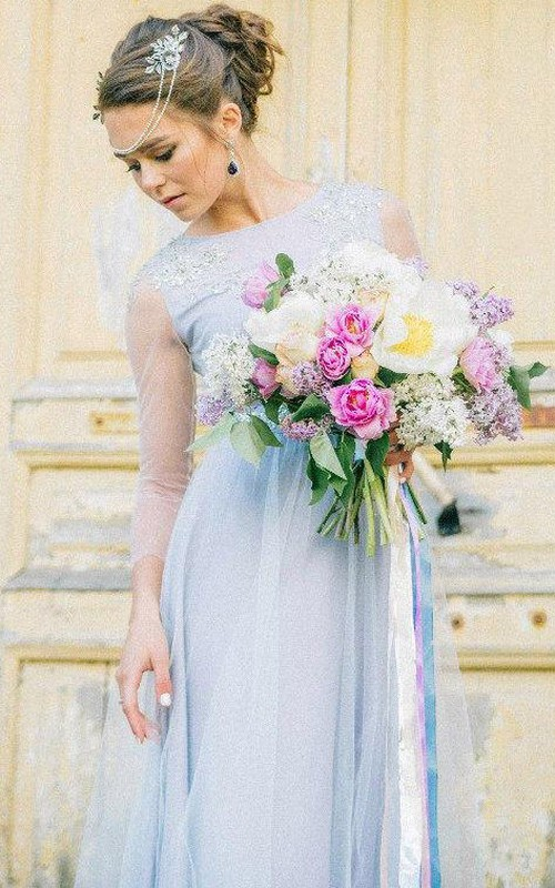 Bateau Illusion Long Sleeve Tulle Dress With Appliques