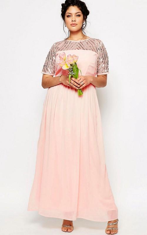 Jewel-Neck Short Sleeve Chiffon plus size Dress With Sequins