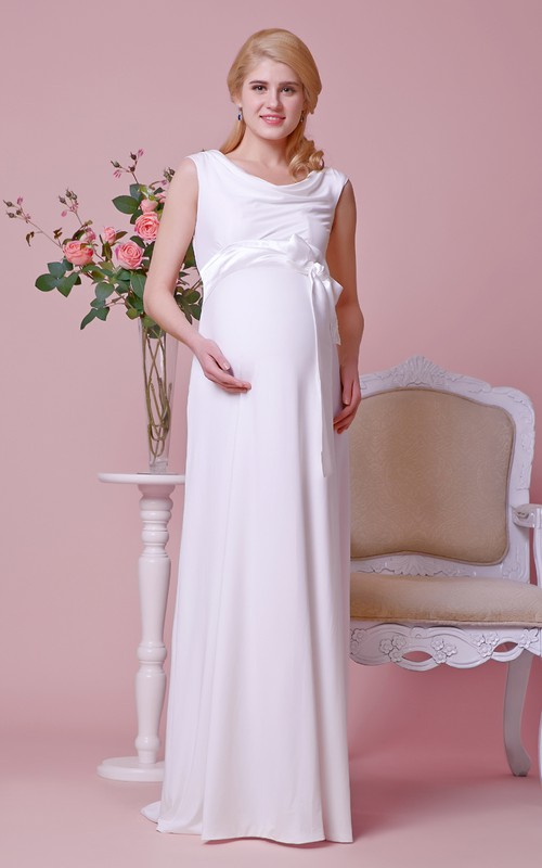 A-Line Cap Sleeves Scoop-Neck Draped Chiffon Gown