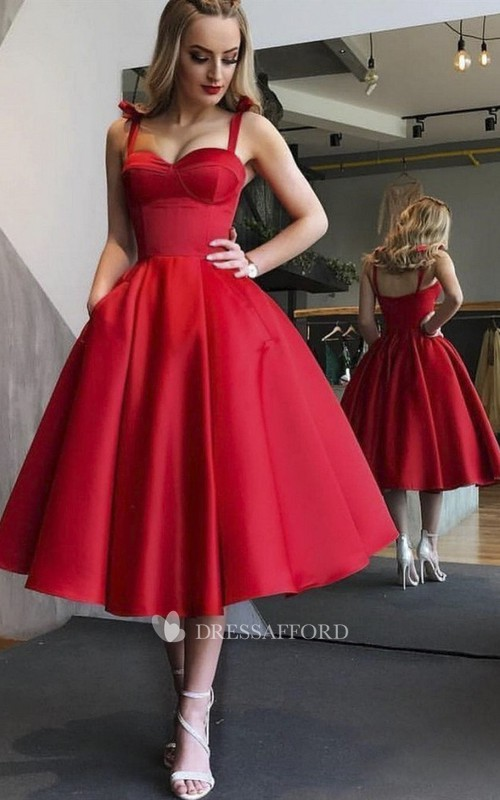 Vintage Sexy Sweetheart Tea-length Dress With Straps And Ruching