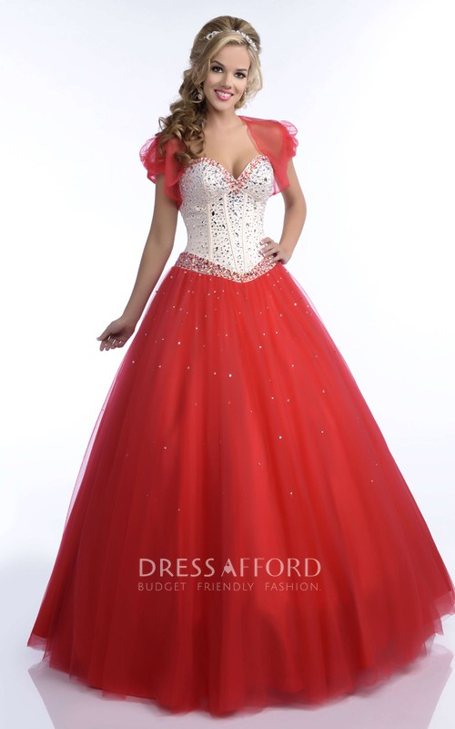 Tulle A Matching Cape Sequined Sweetheart-Bodice Ball Gown