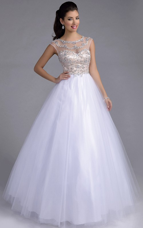 A-Line Illusion Back Featuring Rhinestone-Bodice Tulle Cap-Sleeve Formal Dress