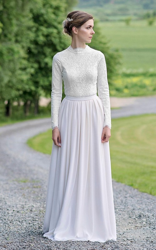 Modest Lace and Chiffon Jewel-Neck Long-Sleeve Wedding Dress