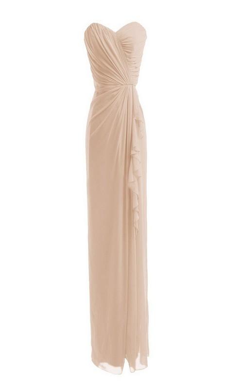 Sweetheart Chiffon Pencil long Bridesmaid Dress With Draping
