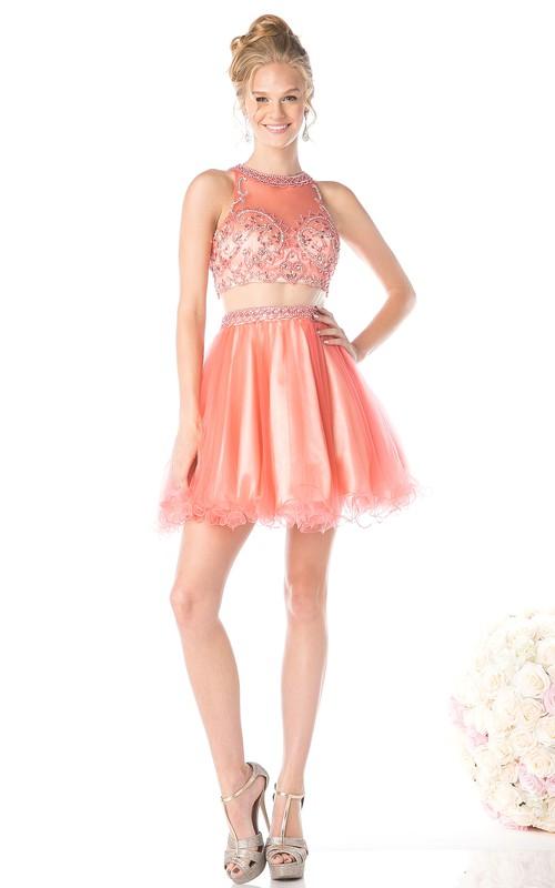 A-Line Beaded Ruffled Jewel-Neck Sleeveless Keyhole Dress