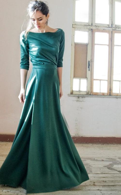 sheer Bateau Half Sleeve Trumpet Dress With Split Front