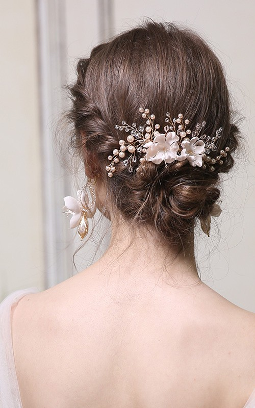 Handmade Beaded Flower Rings and Hair Combs with Crystal