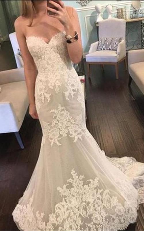 Beautiful Sweetheart Lace 2018 Wedding Dresses Mermaid Tulle Sheer Skirt