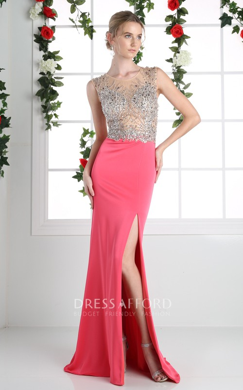 Column Split Front Beaded Jewel-Neck Sleeveless Illusion Jersey Dress