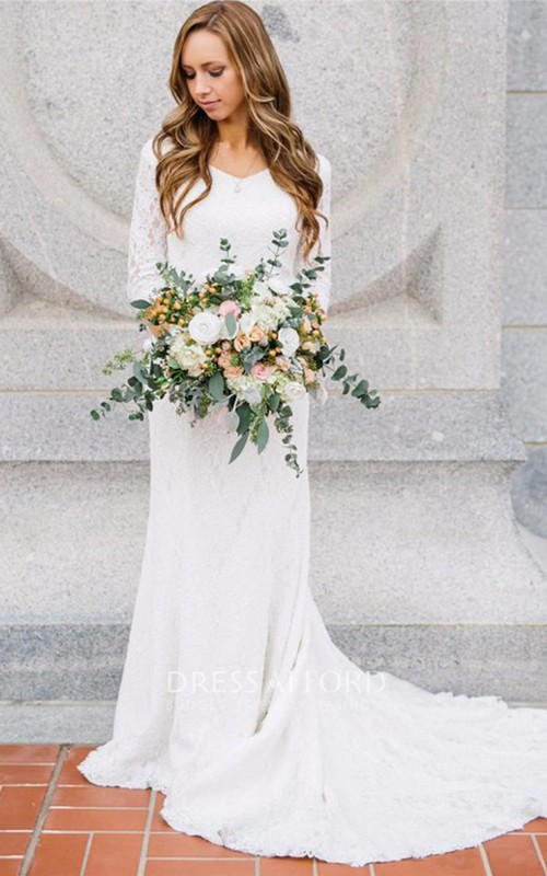 V-neck Chiffon Lace Illusion 3/4 Length Sleeve Wedding Gown