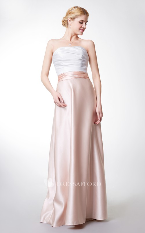 A-Line Ruched Sleeveless Backless Satin Gown