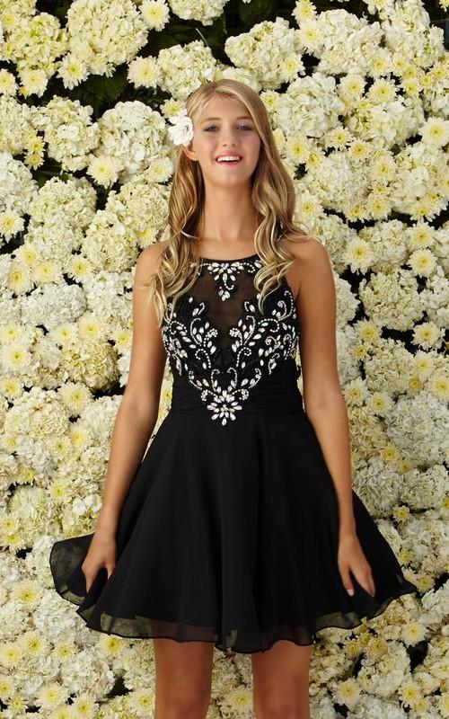 A-Line Short Scoop-Neck Sleeveless Chiffon Dress With Beading