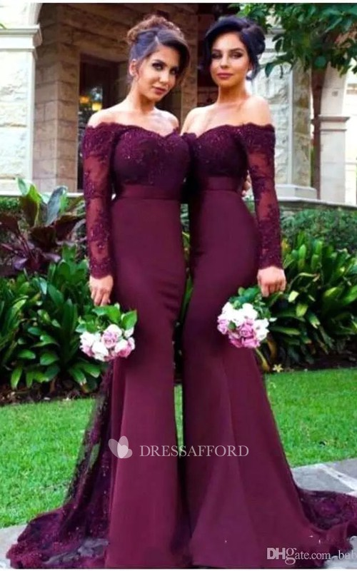 Mermaid Floor-length Off-the-shoulder Long Sleeve Beading Chiffon Sequins Dress