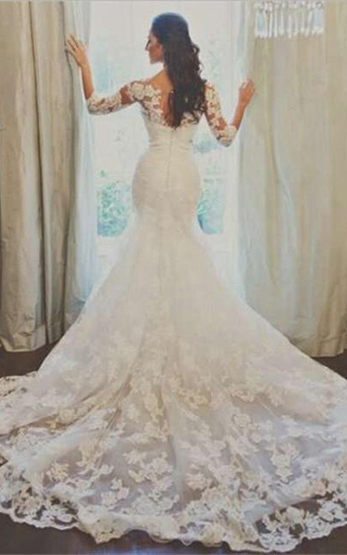 Tulle Lace Appliqued 3-4-Long-Sleeve Elegant Gown