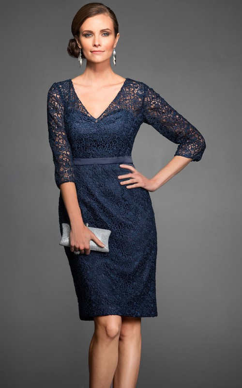 Plunged 3-4-sleeve Pencil Lace short Dress With Illusion