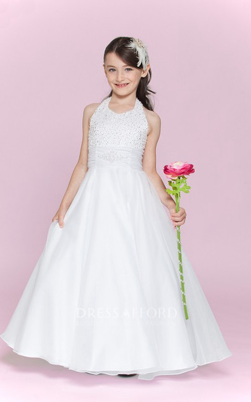 Organza Bandage A-Line Halter Floor-Length Flower Girl Dress