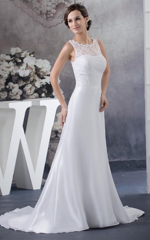 Keyhole-Back Illusion Neck A-Line Sleeveless Dress