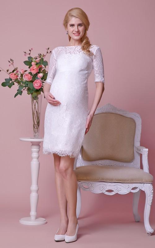 Knee-Length Satin Ribbon Short-Sleeves Allover High-Neckline Dress