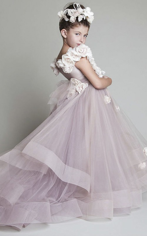 Adorable Ruffles Flower Girl Dress With Flowers With Sash