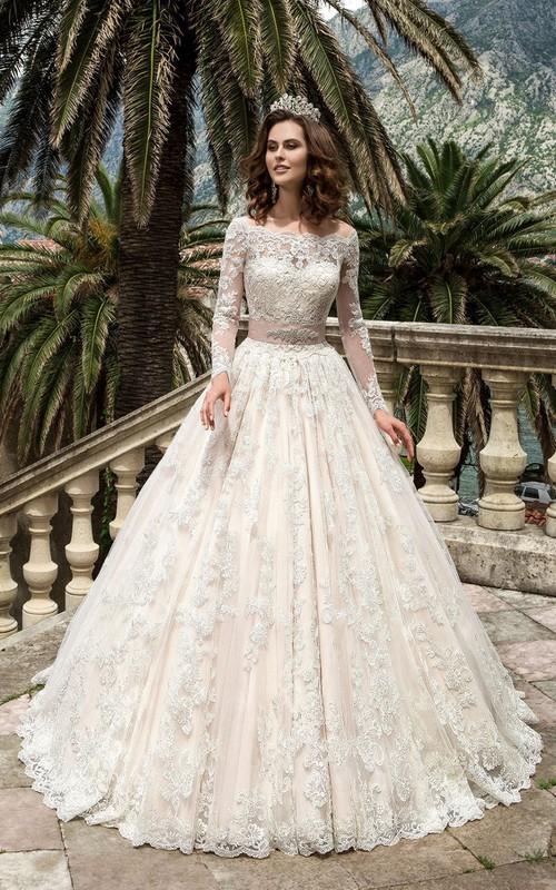 Lace Jeweled Satin Ribbon Long-Sleeve Bateau-Neckline Dress