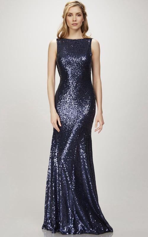 Sheath Floor-Length Sleeveless Bateau Sequins Bridesmaid Dress With Deep-V Back