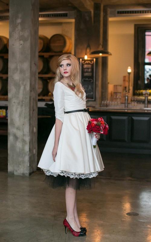 Taffeta Crisscross Ruched 3-4-Sleeve V-Neckline Dress