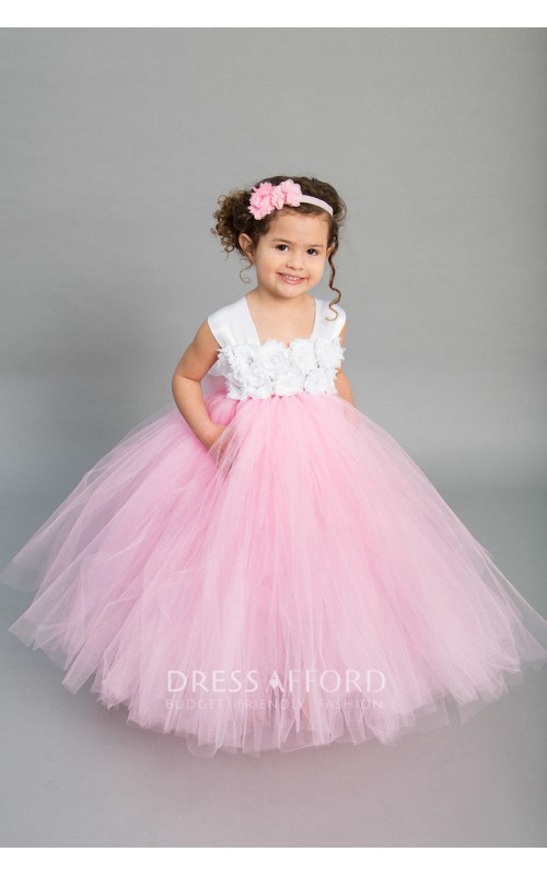 Bust Bow Satin Sash Tulle Chiffon Cap-Sleeve Princess Ruffled Ball Gown