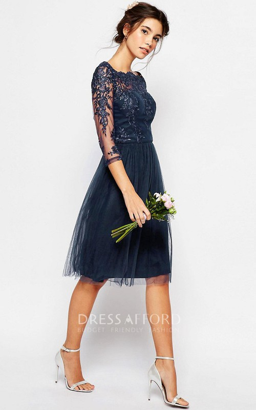 Knee-length Bateau Tulle Dress With Illusion half sleeves