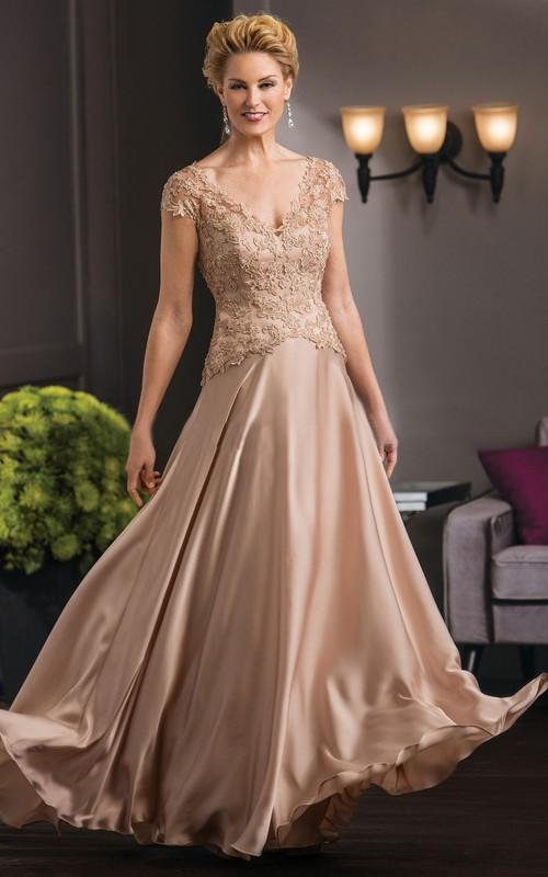 V-neck Cap-sleeve Charmeuse Lace Dress With Illusion back