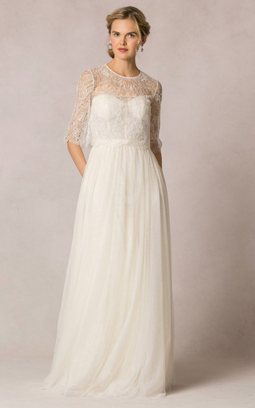 flowy Sweetheart Tulle Wedding Dress With Lace