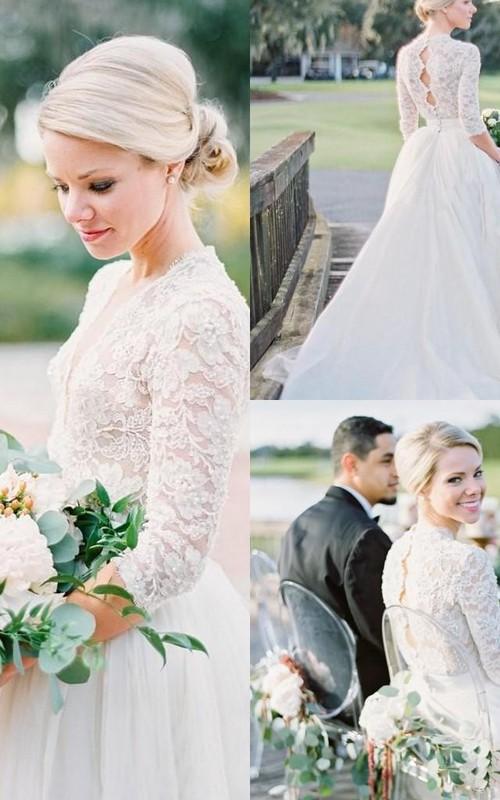 V-neck Lace Tulle Illusion 3/4 Length Sleeve Wedding Dress