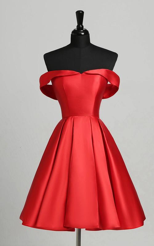 A-Line Off-the-shoulder Satin Sleeveless Open Back Zipper Elegant Romantic Short Mini Dress