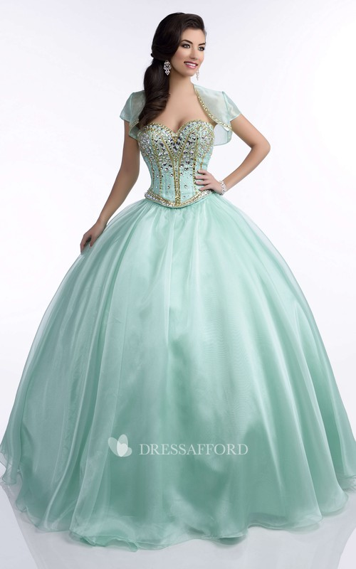 Ball Gown Caped Floor-length Dress With Beading And Corset Back