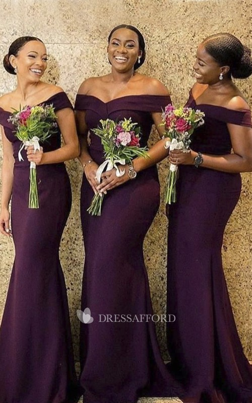 Sexy Elegant Off-the-shoulder Mermaid Jersey Bridesmaid Dress With Ruching