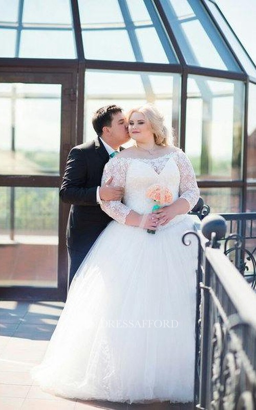 Tulle A-Line Off-Shoulder Plus-Size Bridal Lace Dress