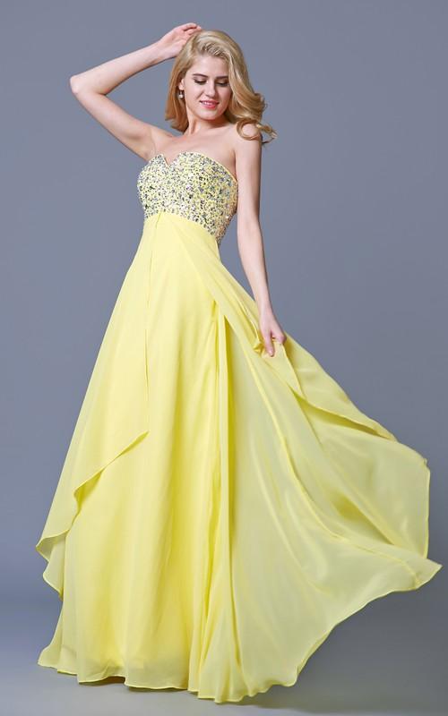 Sweetheart Chiffon Long Dress With jeweled top