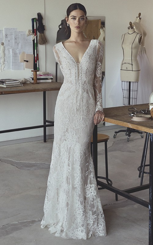 Sexy Bohemian Illusion Long Sleeve Lace Mermaid Bridal Gown With Plunging