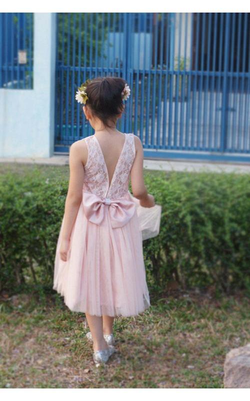 Pleated Bow Satin Sash Floral Blush Tulle Flower Girl Dress