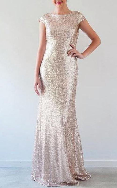 Floor-Length Low-V Back Cap-Sleeve Sequined Dress