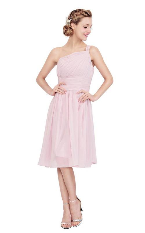 Chiffon Pleated Short-Midi One-Shoulder Dress
