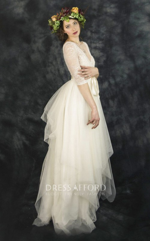 Lace Bow Draping Short-Sleeve Tulle Vintage V-Neckline Dress