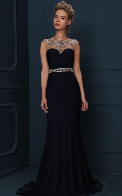 Bateau Sleeveless Sheath Prom Dress With Beading And Illusion