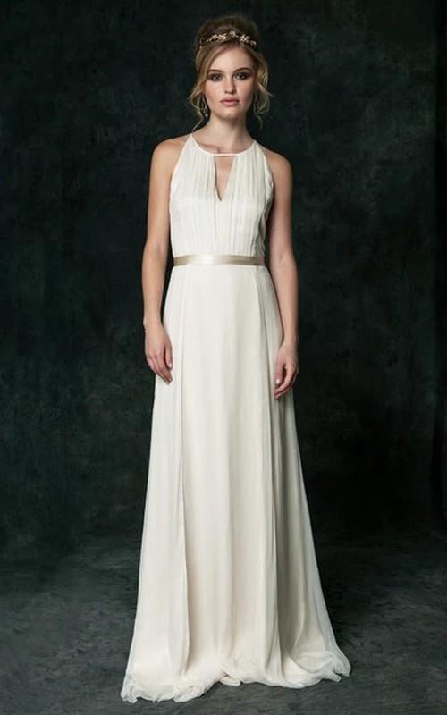 Sexy Chiffon Halter Sleeveless Long Wedding Dress