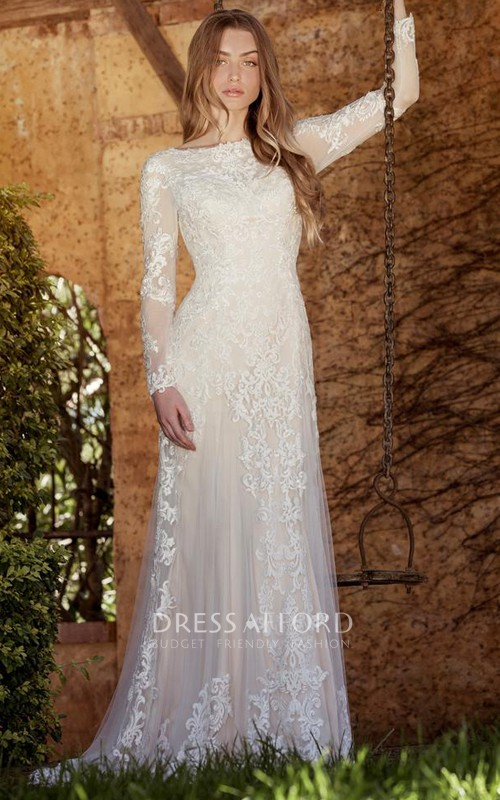 Illusion Long Sleeve Tulle Wedding Dress With Appliques