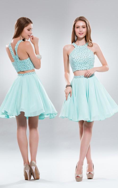2-Piece Zipper Jeweled A-Line Mini Sleeveless Scoop-Neck Chiffon Dress