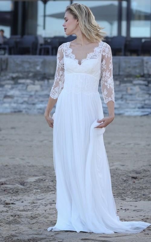 Sexy Sheath Chiffon Scalloped Keyhole Wedding Dress