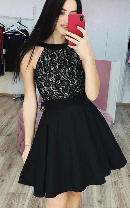 Halter Taffeta Lace Sleeveless Short Homecoming Dress with Pleats